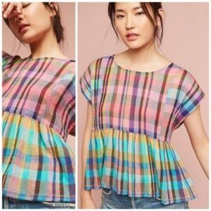 Anthro Rainbow Plaid Babydoll Peplum Top